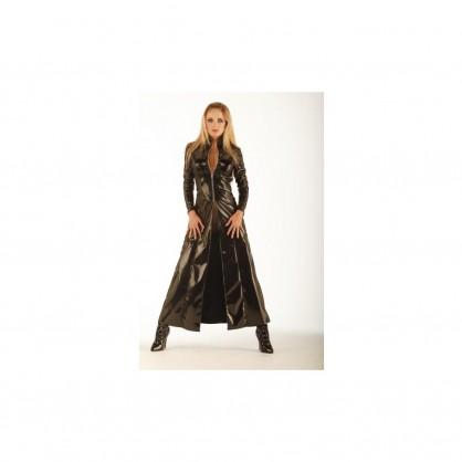 Lakový dámský dlouhý kabát s krátkým předním zipem
