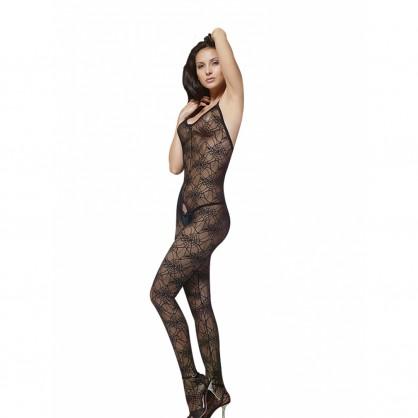 Síťovaný dámský catsuit na ramínka