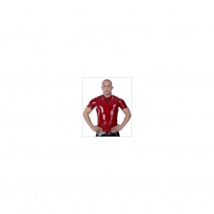 Latexové černé tričko s krátkým rukávem a kontrastním červeným proužkem