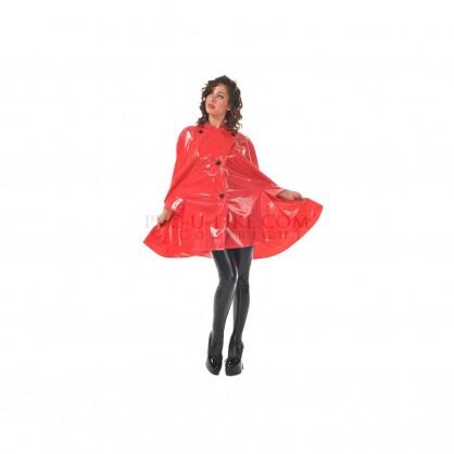 Červené PVC pončo se zatahovací kapucí