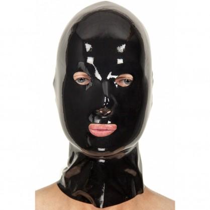 Latexová základní maska se všemi otvory černá bez zipu