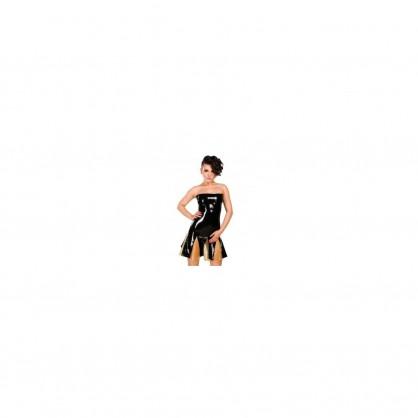 Černé latexové korzetové šaty s barevnou vsadku na sukni