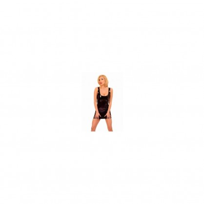 Černé latexové dámské šaty s hlubokým výstřihem