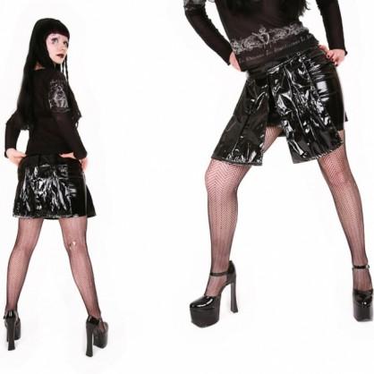 Černá laková dámská dvojitá sukně s kovovou přezkou