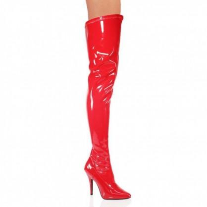 Červené lakové kozačky nad kolena