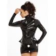 Černá laková dámská bundička do pasu s předním zipem