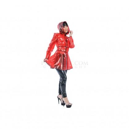 Červený PVC pláštěnka s kapucí a širokým páskem