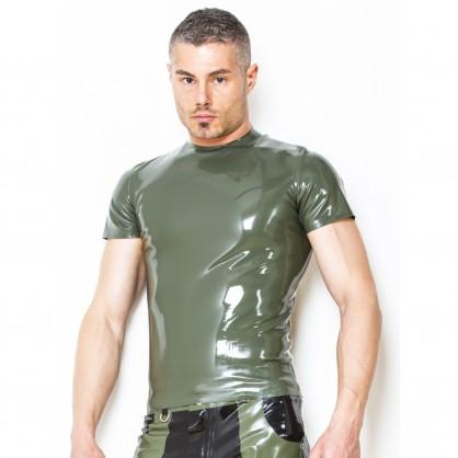Latexové pánské triko s krátkým rukávem v barvě zelené