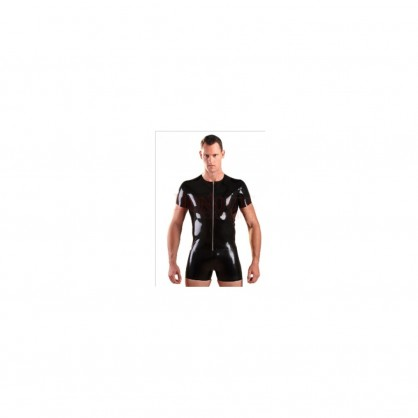 Latexové pánské černé triko s předním kovovým zipem