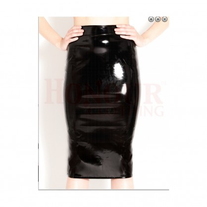 Laková dámská sukně pod kolena se zadním zipem