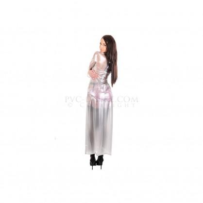 PVC dámské dlouhé šaty se zadním zipem a stojáčkem