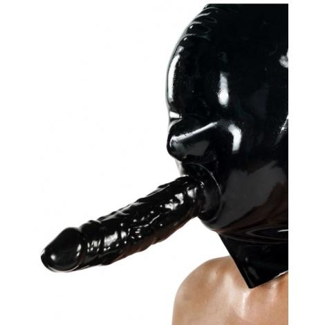 Černá latexová maska se zadním zipem a tvrdým dildem