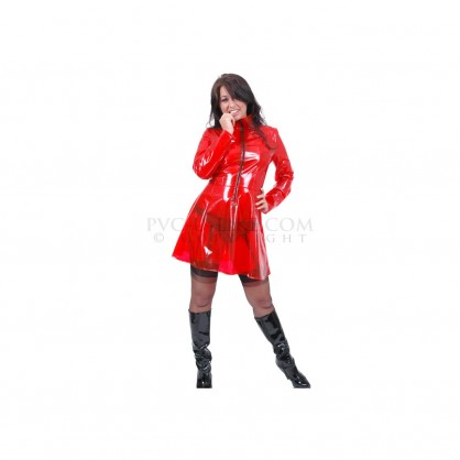 PVC dámské šaty s předním zipem v různých barvách