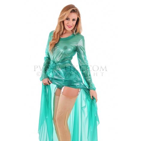 PVC dámské šaty s malým kulatým výstřihem