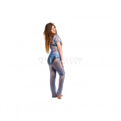 PVC dámské pyžamo s dlouhými kalhoty a krátkým rukávem