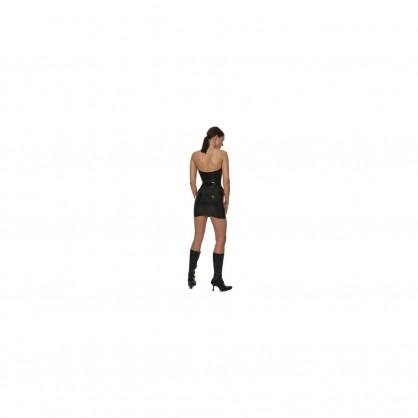 Latexová dámská minisukně s předním kovovým zipem