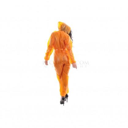 Oranžový PVC catsuit s kapucí,dlouhým rukávem a předním zipem