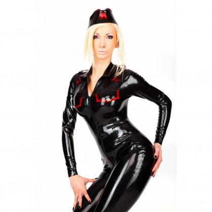 Latexový dámský vojenský catsuit s kapsami na prsou