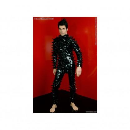 Latexový pánský catsuit s hroty Tom a zipem vpředu