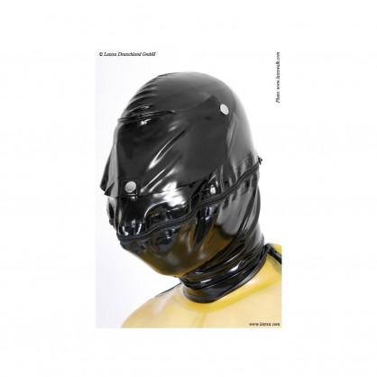 Latexová pánská bojová maska se zipem v oblasti úst