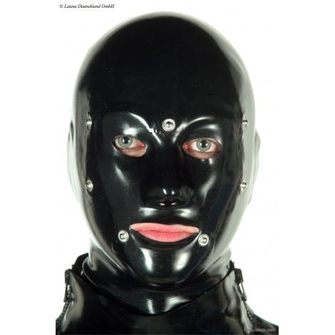 Latexová anatomická maska se zadním vázáním a odnímatelnými krytkami