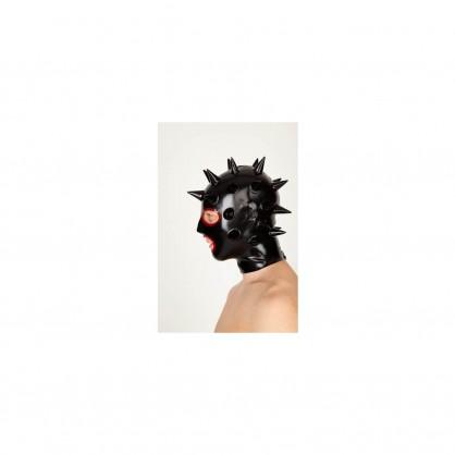 Latexová anatomická maska s hroty na hlavě a kontrastním lemováním u otvorů