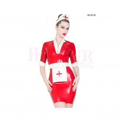 Latexová uniforma sestřičky s čepcem a zástěrkou
