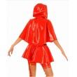 Latexová dámská uniforma červené karkulky s kapucí