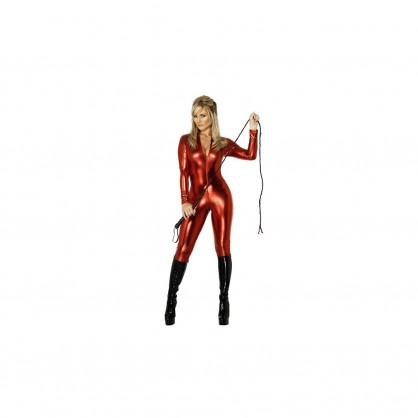 Červený dámský catsuit s předním zipem v barvě catsuitu