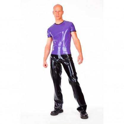 Latexové pánské triko s kontrastním proužkem a krátkým rukávem