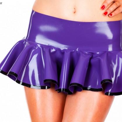 Latexová skládaná krátká sukně s kontrastní spodní částí