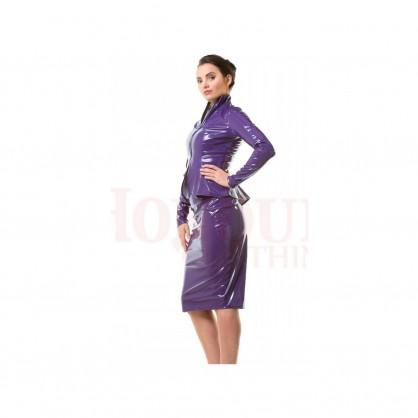 Fialová laková sukně pod kolena se zadním zipem