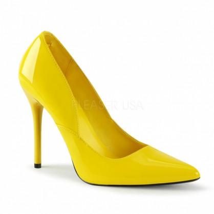 Žluté lakové klasické lodičky se středně vysokým podpatkem