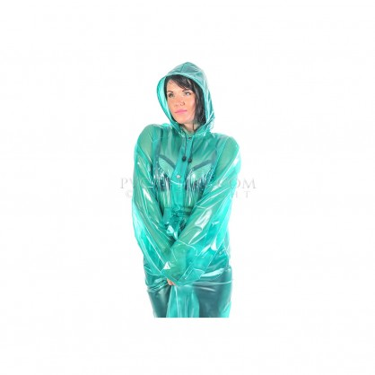 PVC dlouhý kabát v barvě transparentně zelené