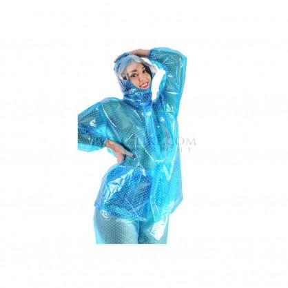 PVC dvojdílný rainsuit s kapucí v modré barvě