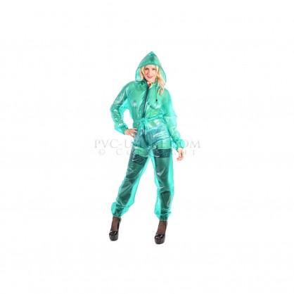 Zelený PVC catsuit s kapucí a s dlouhým rukávem