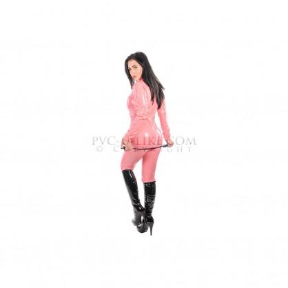 Dámský PVC catsuit s předním zipem a stojáčkem