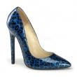 Lakové modré dámské klasické lodičky s leopardím vzorem