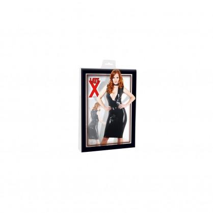 Latexové dámské šaty s hlubokým výstřihem na ramínka