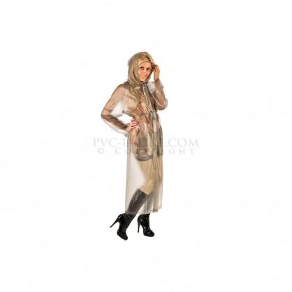 PVC dlouhý kabát s kapucí v barvě šedé