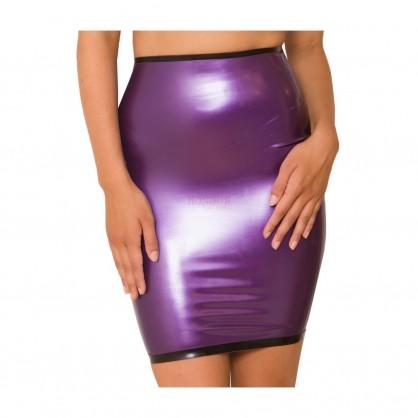 Latexová dámská sukně pod kolena s kontrastním lemováním