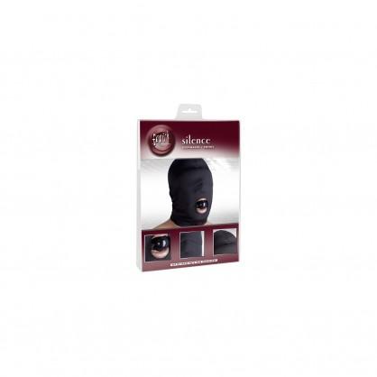 Lycrová maska s otevřenými ústy a roubíkem v barvě černé