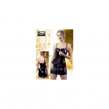 Lakové šaty dámské s předním zipem v barvě černé