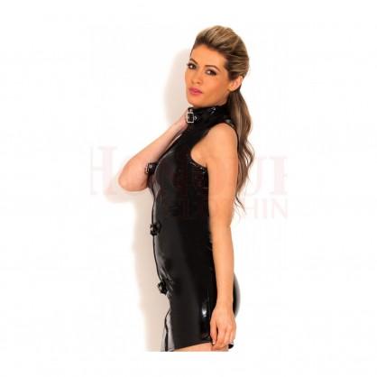 Lakové šaty s přezkami a předním kovovým zipem