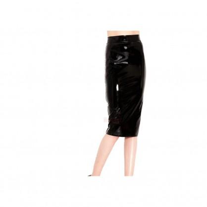 Černá laková sukně pod kolena se zadním zipem