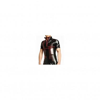 Latexové pánské triko s červenými proužky a předním zipem