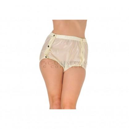 PVC plenkové bílé kalhotky s pružným lemem a šesti patenty