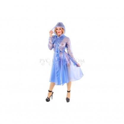 PVC dámský kabát s kapucí a zapínáním v předu