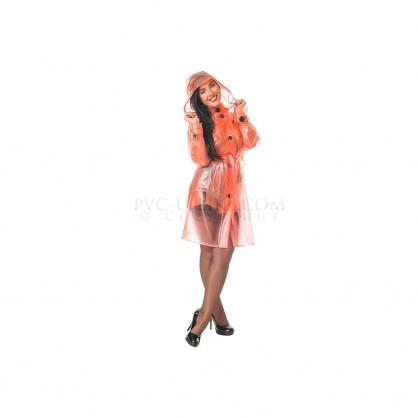 PVC dámský kabát nad kolena se zapínáním na knoflíky