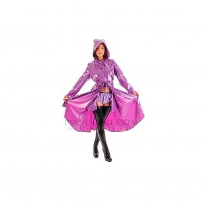 PVC dlouhý kabát s kapucí a předním zapínáním